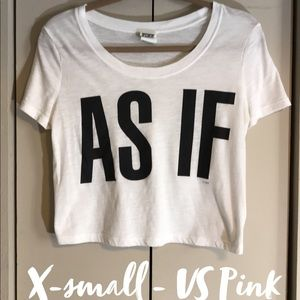 "VS Pink White Crop top ""As If"" - xs"